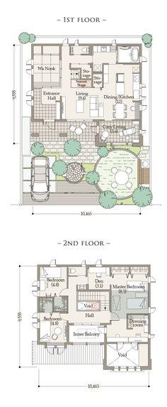 プラン | Oakley Ⅱ(オークリー 2)| 商品ラインナップ | 戸建住宅 |〈公式〉三井ホーム(注文住宅、賃貸・土地活用、医院・施設建築、リフォーム) Guest House Plans, Plan Sketch, Floor Plan Layout, Japanese House, House Layouts, My Dream Home, Future House, Asian Design, Floor Plans