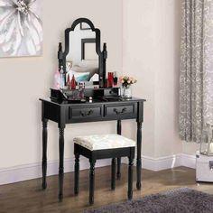 SEN118 Black - http://www.emobili.ro/cumpara/sen118-set-masa-neagra-toaleta-cosmetica-machiaj-oglinda-masuta-vanity-774 #eMobili