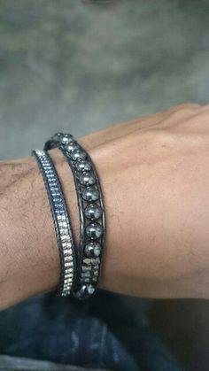 Leather wrap bracelet chan luu men