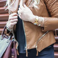 Fall Style: Faux leather jacket, burgundy bag & Hermes cuff