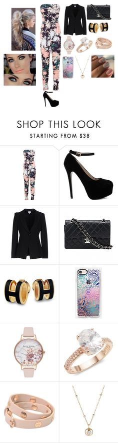 """""""#69"""" by vtamane on Polyvore featuring Miss Selfridge, Armani Collezioni, Chanel, Casetify, Olivia Burton, Saks Fifth Avenue, Tory Burch and Hirotaka"""