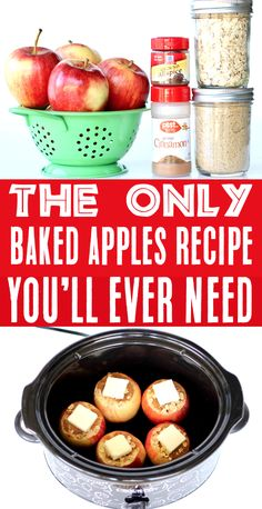 Baked Apples Recipes - Easy Crockpot Desserts are perfect for busy nights, and this delicious cinnamon apple treat has outrageous flavor!  Plus, with just 6 ingredients, this cozy Fall treat is SO simple to make!  Go grab the recipe and give them a try this week! Crock Pot Desserts, Slow Cooker Desserts, Crock Pot Cooking, Cookie Desserts, Slow Cooker Recipes, Crockpot Recipes, Cooking Recipes, Healthy Desserts, Apple Recipes Easy