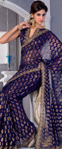 Gorgeous Sari Blouse #sari #navy #gold