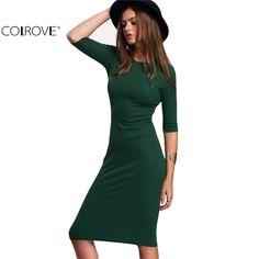 Colrovie 작업 여름 스타일 여성 bodycon 드레스 섹시한 2017 새로운 도착 캐주얼 녹색 크루 넥 반 소매 미디 dress