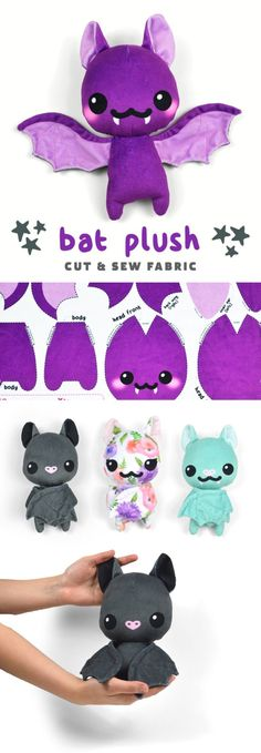 New Product! Cut & Sew Bat Plush Hey everyone! Over the last few months I've really been getting into Spoonflower – the awesome service where you can get custom-printed fabric. I've been using them a lot for custom gifts for frien… Cute Crafts, Felt Crafts, Fabric Crafts, Diy And Crafts, Kawaii Crafts, Kawaii Diy, Kawaii Felt, Easy Crafts, Custom Printed Fabric