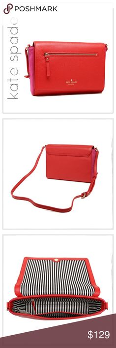 "✨kate spade Mathews Drive 'Patty' Crossbody✨ ✨Kate Spade Matthews Drive Patty Crossbody✨Color-pop side panels in lush suede jazz up a lightly pebbled leather crossbody bag shaped with a structured, boxy silhouette and detailed with touches of 14-karat light-gold-plated hardware✨Magnetic snap-flap closure✨Exterior zip pocket on flap✨ ✨Interior zip, wall and smartphone pockets✨Bookstripe-Print Twill Lining✨Approx 11-1/2""W X 9-1/2""H X 6-1/2""D✨Adjustable Strap Drop 21-23""✨NEW and Never Used Or…"