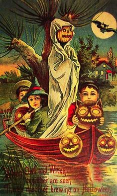 ...while another leads them by water: | 13 Odd And Disturbing Vintage Halloween Postcards