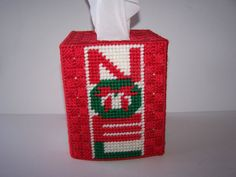 Christmas NOEL Tissue Box Cover Plastic Canvas by CraftTGram