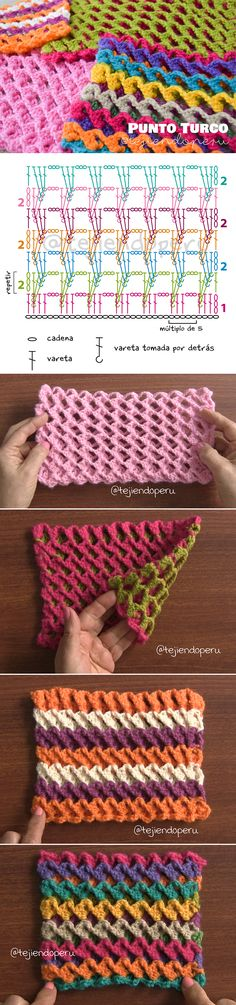 Bello punto turco tejido a crochet Paso a paso en video tutorial y diagrama :)