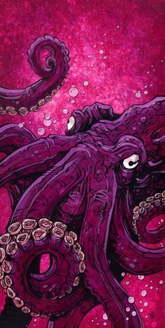 ocean dweller by david lozeau pink deep sea octopus tentacles canvas art print sea-monster nautical oceanic tenticles alternative-artwork Art And Illustration, Gravure Illustration, Octopus Illustration, Pop Art, Octopus Art, Octopus Tentacles, Inspiration Art, Art Inspo, Ocean Art