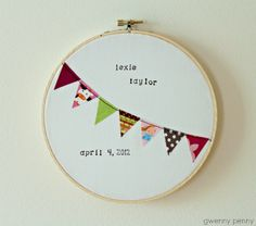 So adorable!  Baby Announcement Hoop, I heart GwennyPenny