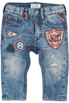 Stretch denim jeans with patch & crest decors, color-contrast topstitching across upper section plus color-contrast ribbon on belt loop. - Replay