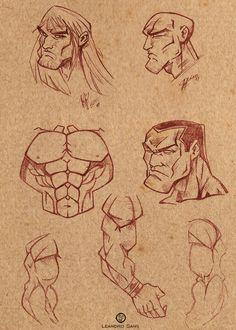 Study men cartoon  Arte: Leandro Sans. - Site: http://leandrosans.flavors.me - Comissão: leandrosansarte@gmail.com