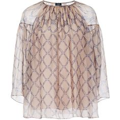 Alena Akhmadullina Diamond Print Pleated Silk Blouse ($393) ❤ liked on Polyvore featuring tops, blouses, print, mixed print top, print top, silk tops, brown silk top and brown top