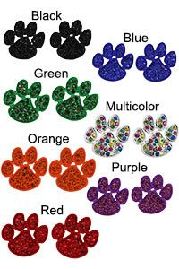 Rhinestone Paw Earrings at The Animal Rescue Site >> Love the multi-color paw print earrings. Too cute!