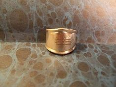"""#R302, Monogramed """"M"""" Spoon Ring, size 3-3/4 handmade Silverplate"""