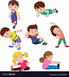 Cartoon kids yoga with different yoga poses vector image on VectorStock Kids Yoga Poses, Yoga For Kids, Exercise For Kids, Art For Kids, Physical Activities For Kids, Physical Education Games, Health Education, Yoga Cartoon, Cartoon Kids