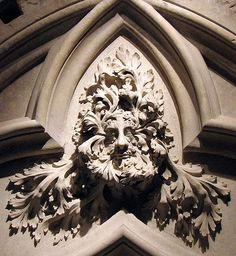 Green Man from the Basilica of St. Denis, Paris, France (now in the Louvre Museum). (photo Julianna Lees).