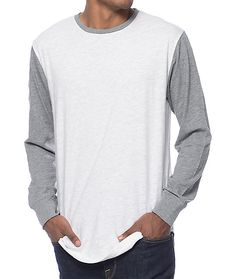 Stock up on stylish basics for your wardrobe with the fresh two tone look of the Zine Full House long sleeve t-shirt. A clean natural body is accented by contrasting grey long sleeves and collar plus a tagless cotton-poly blended construction to give you