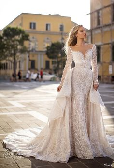 wona 2020 couture bridal long sleeves deep sweetheart neckline full embellishment elegant glamorous fit and flare sheath wedding dress a line overskirt backless scoop back chapel train mv -- WONÁ Couture 2020 Wedding Dresses Wedding Dress Trends, Dream Wedding Dresses, Wedding Gowns, Bouquet Wedding, Wedding Nails, Bridal Skirts, Bridal Gowns, Boho Chique, Traditional Gowns