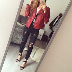 Passez un excellent dimanche beauties ❤   Perfecto rouge Jean\u2022perfecto\u2022sandales www.