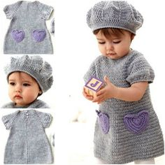 Crochet Heart Dress And Beret FREE Pattern