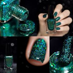 Emerald green holographic glitter nail polish