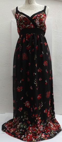 Floral Summer Maxi Dress Black With Red Flower Detail Great Condition Size 12