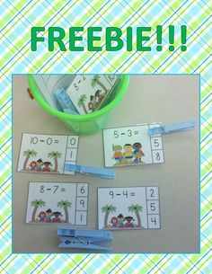 summer themed subtraction cards- clip a clothespin on the correct answer- free