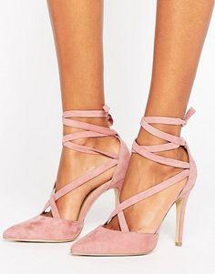 New Look Suedette Tie Around Pointed Court Heel at asos.com. Blush HeelsPink  HeelsHigh Heel PumpsPumps ... 9080df80f3af