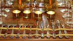 Mesa de Natal Decoracao Barata Dourada talheres