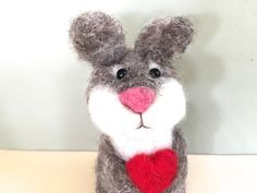 Needle felted bunny with red heart  waldorf bunny by Felt4Soul