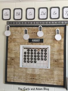 The Carly and Adam Blog: My Fixer Upper Classroom Reveal Industrial Chic, Shiplap, Woodgrain, and Chalkboard Classroom Theme, School Girl Style