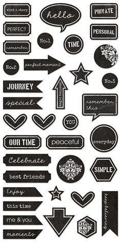 Illumination – 7 dots studio Printable Scrapbook Paper, Printable Planner Stickers, Journal Stickers, Scrapbook Stickers, Planner Bullet Journal, Bullet Journal Books, Bullet Journal Ideas Pages, Kalender Design, Black And White Stickers