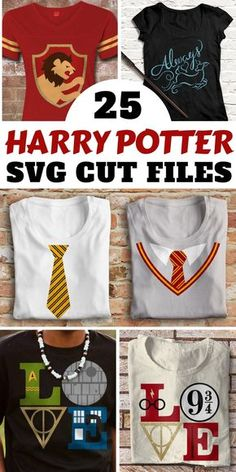 Choose from 25 creative Harry Potter inspired SVG files to make T-shirts and more with your Cricut or Silhouette machine! Or print out on iron-on transfer papern | instant download #ad #cricut #silhouette #svg #svgfiles