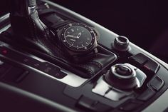Panerai Luminor and the dashboard of an Audi A5