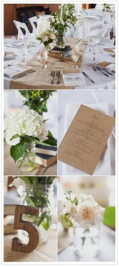 burlap runner trimmed on both sides with blue ribbon.  Plain and fancy.  Pink and white flowers in blue mason jars.
