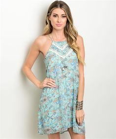 Aqua Floral Print Dress – Blooming Dresses