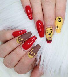 Winnie the pooh nails for . Disney Acrylic Nails, Summer Acrylic Nails, Best Acrylic Nails, Acrylic Nail Designs, Disney Nails Art, Swag Nails, My Nails, Nail Manicure, Disneyland Nails