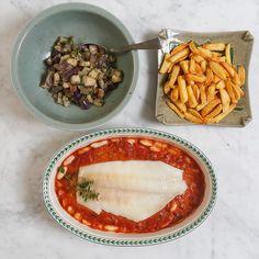 Perfect summerdinner: visfilet met grote witte bonen in tomatensaus. Heerlijk…