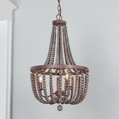 Refined Beaded Drop Basket Chandelier