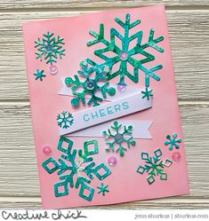 Get Cracking: Snowflake Cheers, Lawn Fawn - {creative chick} | shurkus.com Snowflake Cutouts, Snowflakes, Christmas Cards 2018, Holiday Cards, Distress Oxide Ink, Lawn Fawn, Ink Pads, Give It To Me, Gift Wrapping