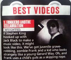 Kerrang! Dec 10, 2014 issue | Best Videos | #1: frnkiero andthe cellabration - .weighted. (love their description of the video!) XD