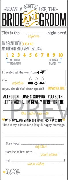 Wedding Guest Note for Bride & Groom Printable File - Yellow and Gray
