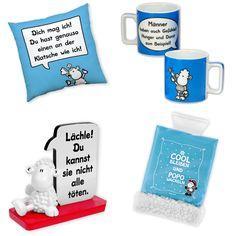 """Das haut den stärksten Typen um: coole sheepworld Wortheldtasse für die verdiente Kaffeepause zwischendurch, Klatsche-Kissen zum Chillen, cooler Fotohalter """"Lächle"""" für die Schnappschüsse mit den Kumpels. Ein Eiskratzer für das Muskeltraining an kalten Tagen darf bei diesem Geschenk für echte Männer nicht fehlen! http://sheepworld.de/shop/Weihnachten/Geschenk-Sets/Geschenkset-Fuer-Ihn.html"""