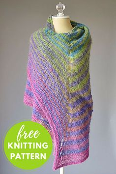 Asymmetrical Striped Shawl Free Knitting Pattern - It's a one skein project!