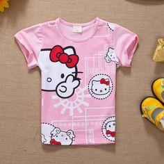 baby children t shirt cute for girls 12 years cartoon little girls T shirts hello kitty brand short sleeve kids children clothes
