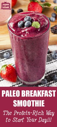 Paleo Breakfast Smoothie - 8 ounces chilled herbal tea 1/2 avocado 1-2 soft-boiled eggs you will not taste them.) 1 cup blueberries 1 cup spinach 1 tablespoon shredded coconut 1 tablespoons ground flax seed 1/2 teaspoon turmeric 1/2 teaspoons ginger Directions: Combine all ingredients in a blender until smooth. blueberries in the smoothie overpowered the egg.