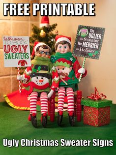 Elf on the Shelf Printable. Ugly Sweater Party Signs. To view more pins like this one, search for Pinterest user amywelsh18.