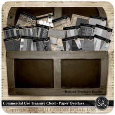Commercial Use Treasure Chest - Papers & Overlays Treasure Chest, Digital Scrapbooking, Overlays, Commercial, Studio, Paper, Products, Overlay, Study